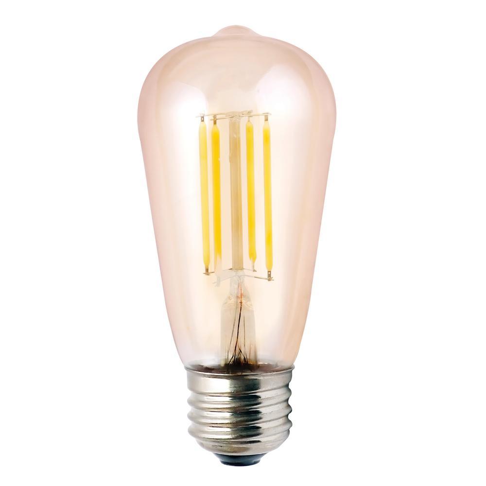 Halco Lighting Technologies Halco Lighting Technologies 60-Watt Equivalent 7-Watt ST19 Dimmable LED Amber Filament Antique Vintage Light Bulb 2000K 85046