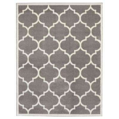 Contemporary Moroccan Trellis Gray 7 ft. 10 in. x 9 ft. 10 in. Area Rug