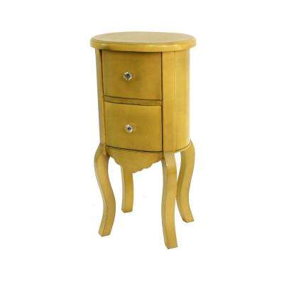 yellow wood end table with drawers