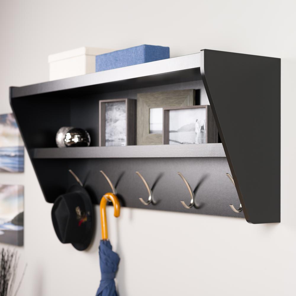 Prepac 48.5 inch x 19.25 inch Floating Entryway Shelf and Coat Rack in Black by Prepac