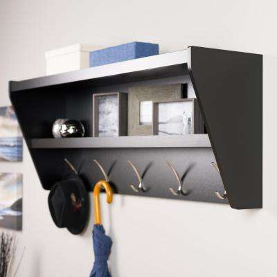 48.5 in. x 19.25 in. Floating Entryway Shelf and Coat Rack in Black