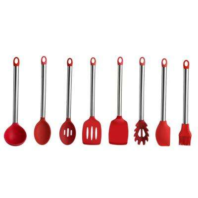 8-Pieces Stainless Steel Handle Silicone Utensil Set in Red