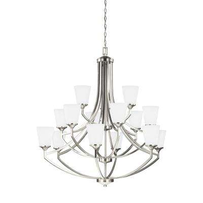 Hanford 15-Light Brushed Nickel Chandelier with LED Bulbs