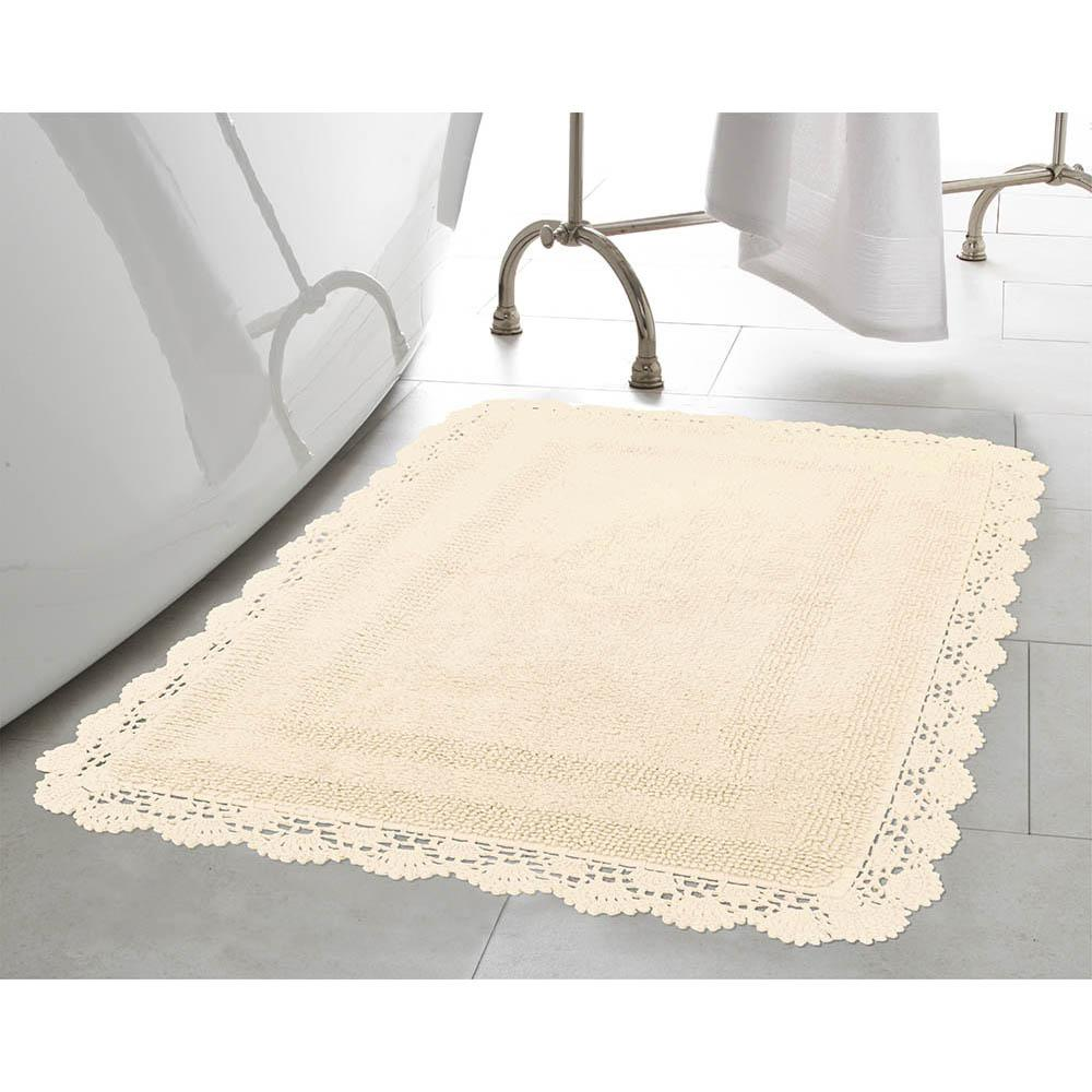 Crochet 100% Cotton 17 in. x 24 in. Bath Rug in