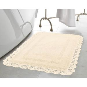 Laura Ashley Crochet 100% Cotton 17 inch x 24 inch Bath Rug in Ivory by Laura Ashley