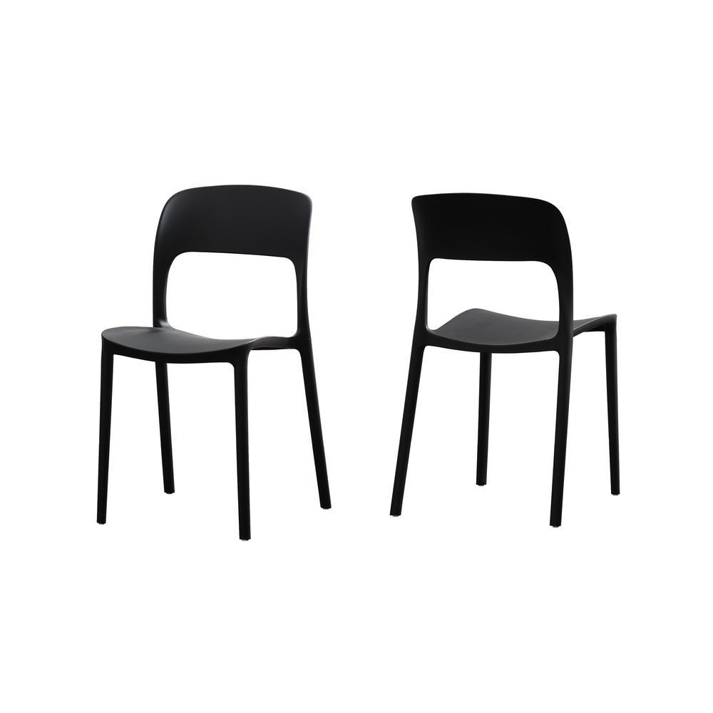 Excellent Noble House Kipford Black Plastic Armless Chairs Set Of 2 Inzonedesignstudio Interior Chair Design Inzonedesignstudiocom