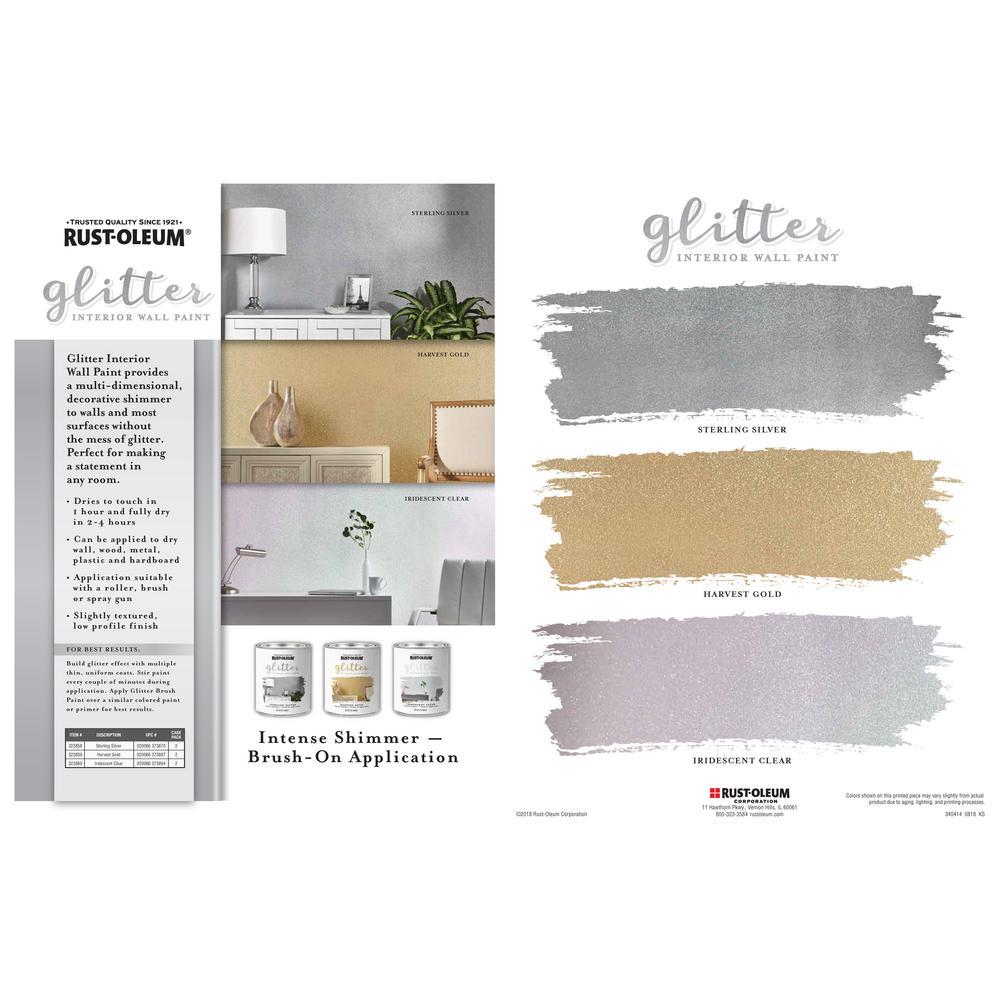 Rust Oleum 1 Qt Iridescent Clear Glitter Interior Paint