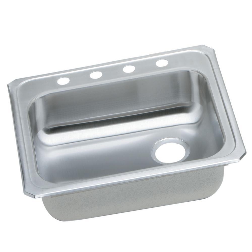 Celebrity Drop-In Stainless Steel 25 in. 4-Hole Single Basin Kitchen Sink