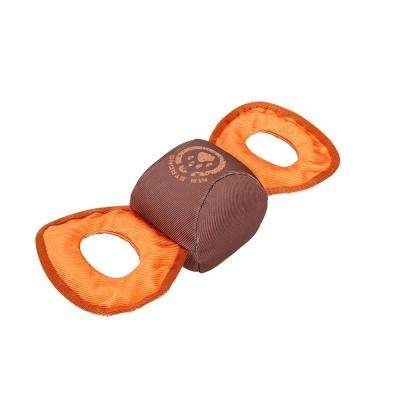 Orange and Brown Chompter Dura-Chew Tough Water Resistant Plush Chew Tugging Dog Toy