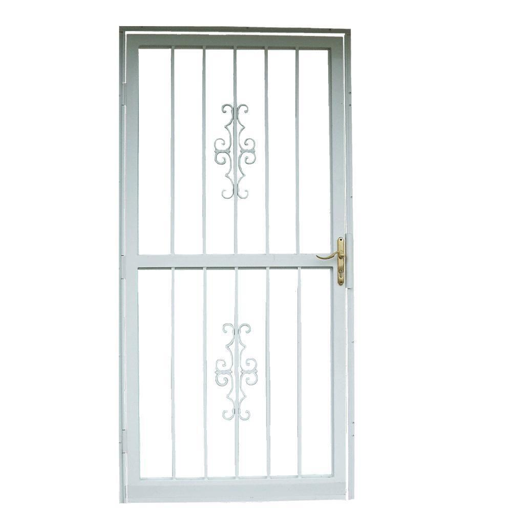 Grisham 32 In X 80 In 301 Series White Prehung Guardian Steel Security Door 30132 The Home Depot