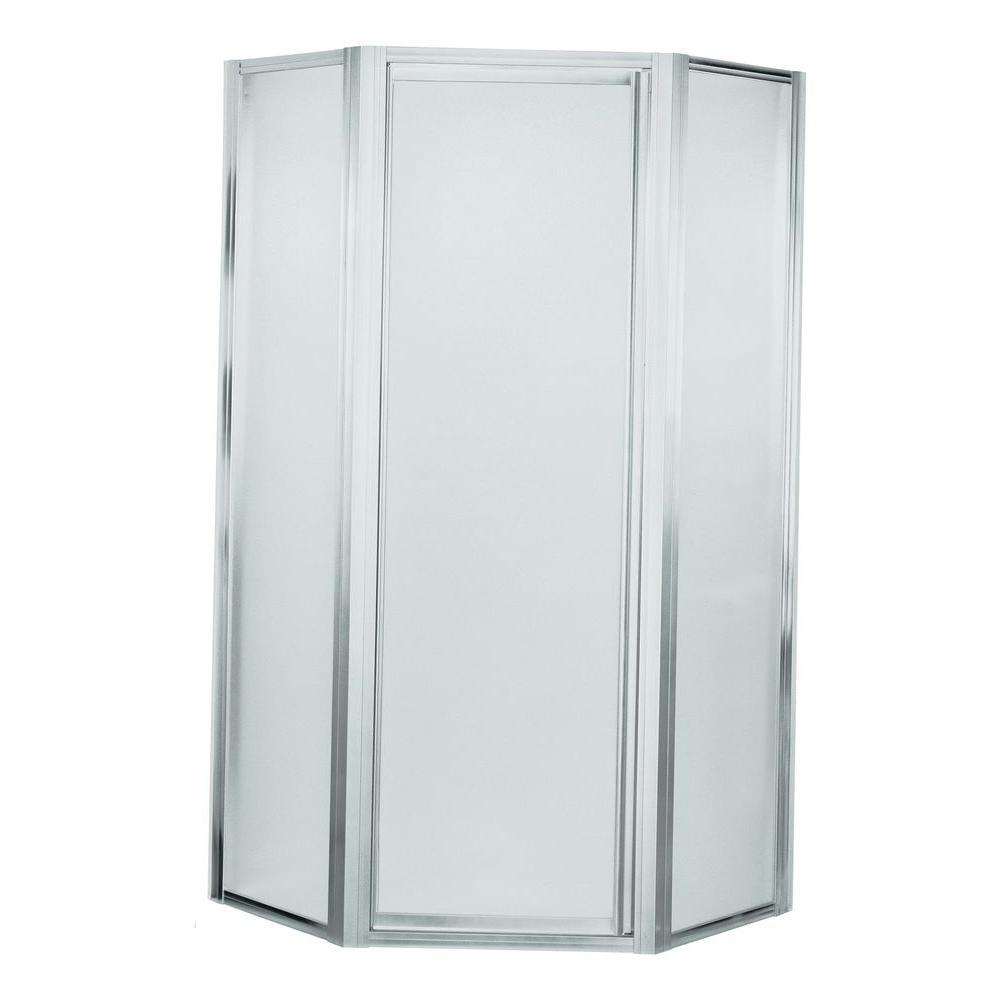 Deluxe 24-3/8 in. x 72 in. Frameless Neo-Angle Shower Door in Silver