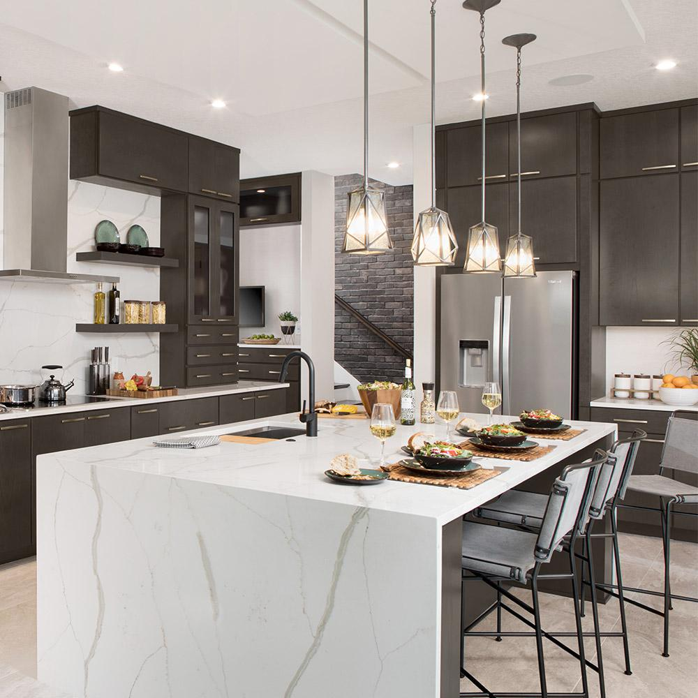 American Woodmark Custom Kitchen Cabinets Shown In Modern Style HDINSTBL    The Home Depot