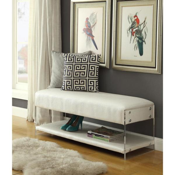 Inspired Home Winona White PU Leather Ottoman Bench with Bottom Shelf