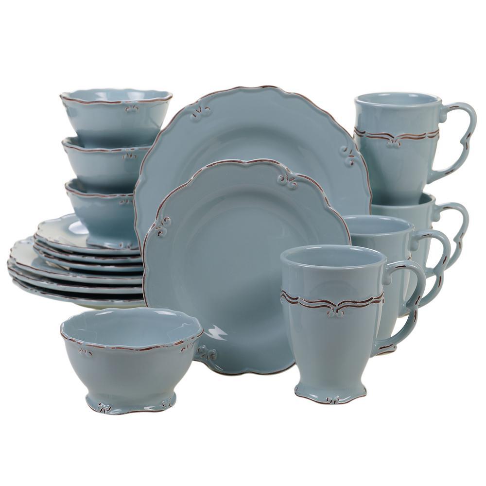 Vintage Blue 16-Piece Blue Dinnerware Set