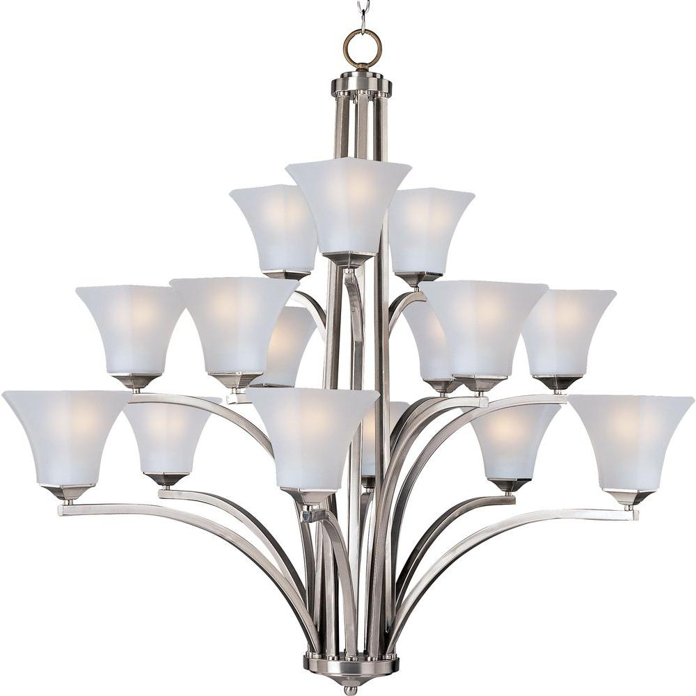 Aurora 15-Light Satin Nickel Multi-Tier Chandelier