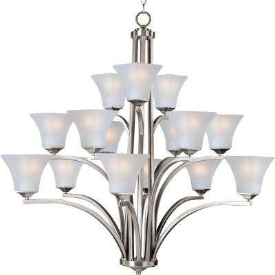 Aurora 15 light satin nickel multi tier chandelier