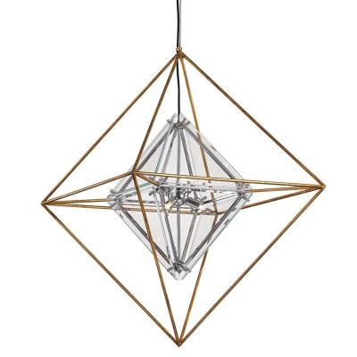 Epic 6-Light Gold Leaf Pendant with Clear Shade