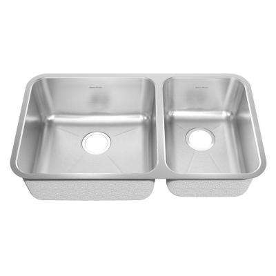 Prevoir Brushed Undermount Stainless Steel 32.875 in. Bowl Double Bowl Kitchen Sink Kit