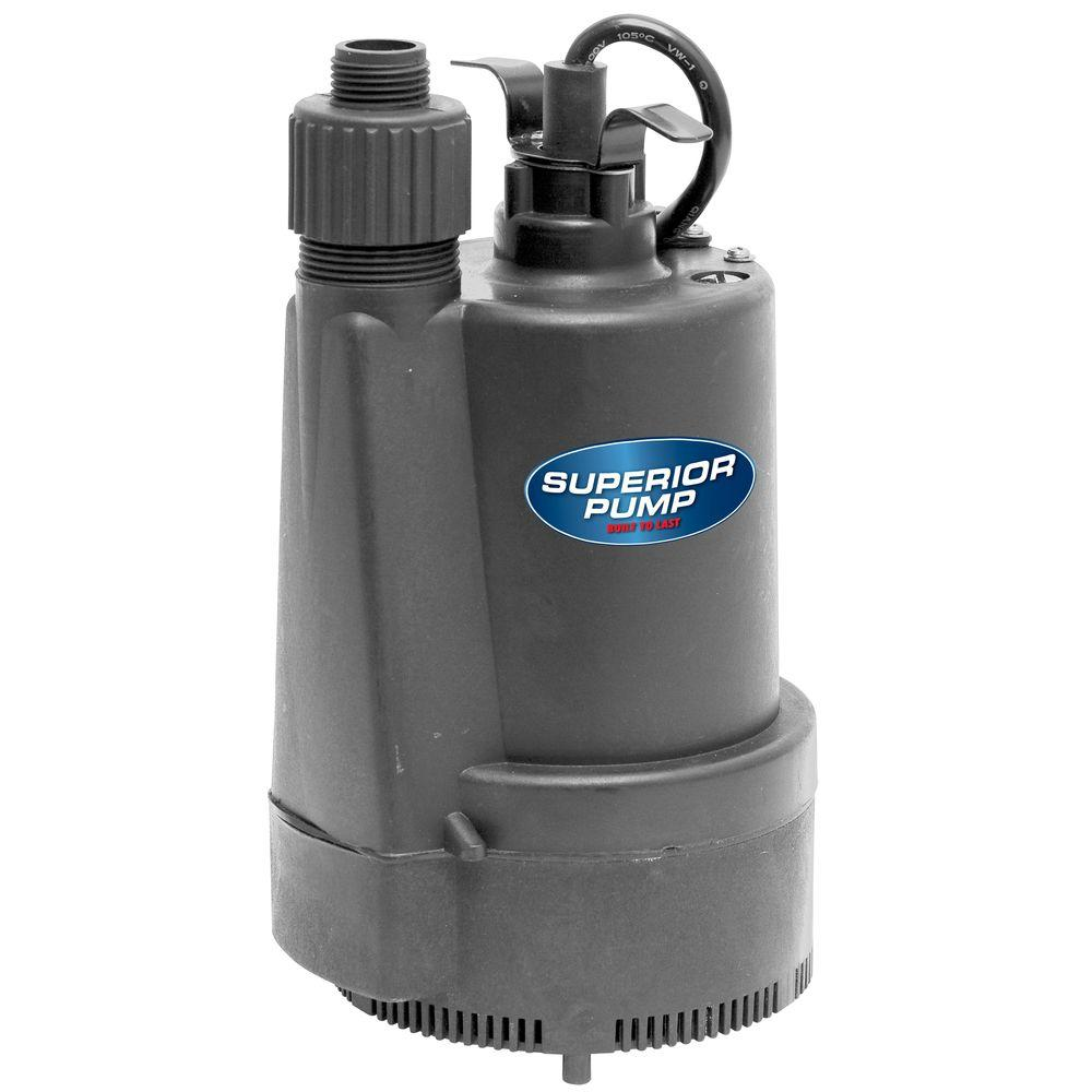 Superior pump 1 3 hp submersible thermoplastic utility for Home depot pool pump motor
