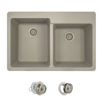 All-in-One Drop-in Granite Composite 33 in. 4-Hole Offset Double Bowl Kitchen Sink in Slate