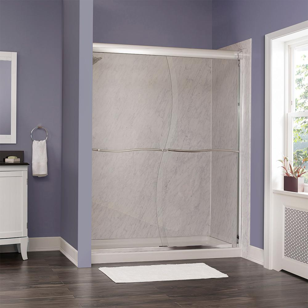 Foremost Marina 58 in. W x 72 in. H Frameless Sliding Shower Door in Oil Rubbed Bronze