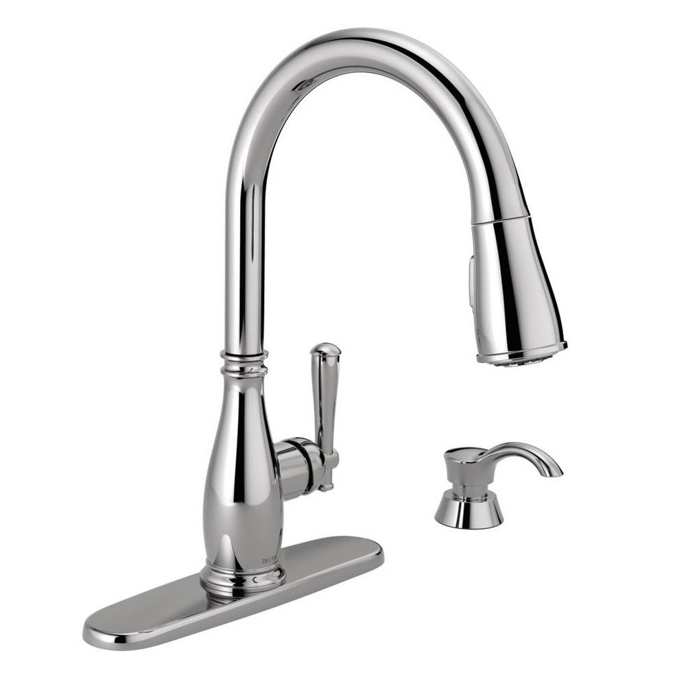 Charmaine Single-Handle Pull-Down Sprayer Kitchen Faucet with Soap Dispenser in