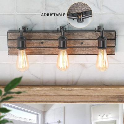 Rustic Bathroom Vanity Light 3-Light Dark Bronze Adjustable Wood Vanity Light Modern Industrial Water Pipe Wall Sconce