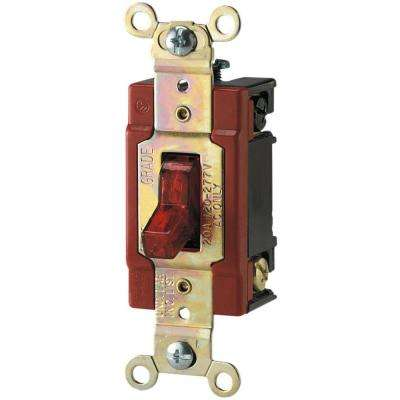20 Amp 120/277-Volt Industrial Grade Toggle Switch with Pilot Light, Red