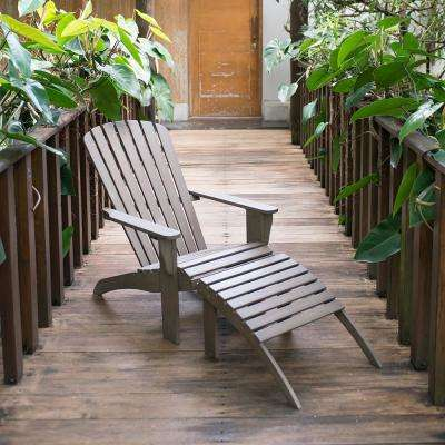 Lyon Wood Outdoor Adirondack Chair with Ottoman