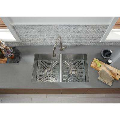 Ludington Undermount Stainless Steel 32 in. 50/50 Double Bowl Kitchen Sink Kit