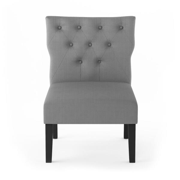 Furinno Belfort Grey Polyester Button Tufted Back Accent Chair (Set of