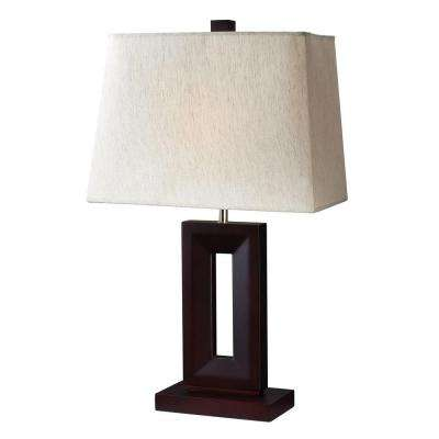Lawrence 27 in. Mahogany Incandescent Table Lamp
