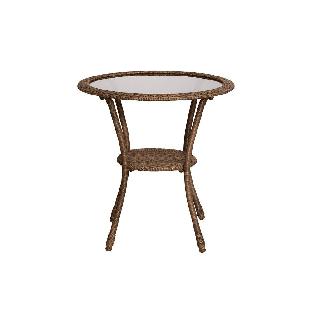 Hampton Bay Spring Haven Brown All-Weather Wicker Outdoor Patio Bistro Table