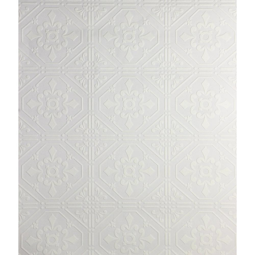 56.4 sq. ft. Brooklyn Tin Paintable Peelable Wallpaper