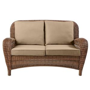 Beacon Park Brown Wicker Outdoor Patio Loveseat with Toffee Tan Cushions