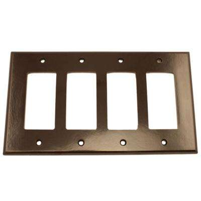 4-Gang Decora Midway Wall Plate, Brown