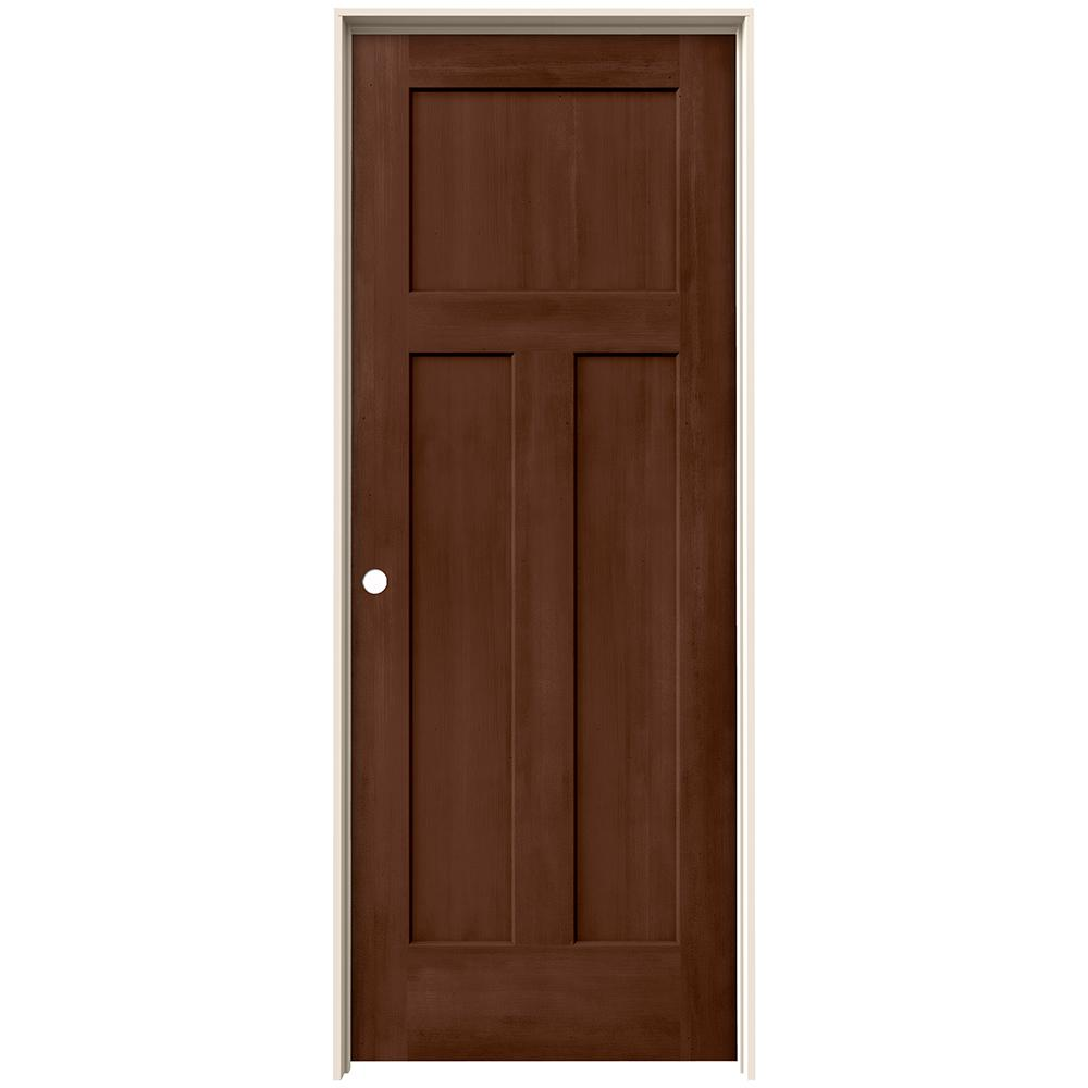 Jeld Wen 30 In X 80 In Craftsman Milk Chocolate Stain Right Hand Solid Core Molded Composite