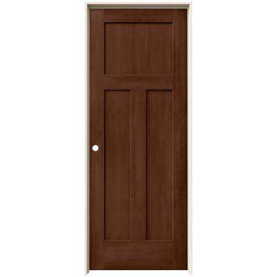 30 in. x 80 in. Craftsman Milk Chocolate Stain Right-Hand Solid Core Molded Composite MDF Single Prehung Interior Door