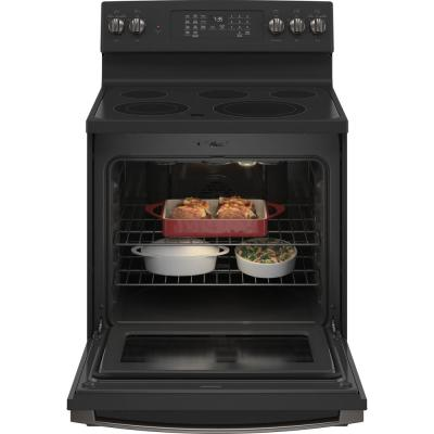30 in 5.3 cu. ft. Electric Range with Self-Cleaning Convection and Air Fry in Black Slate