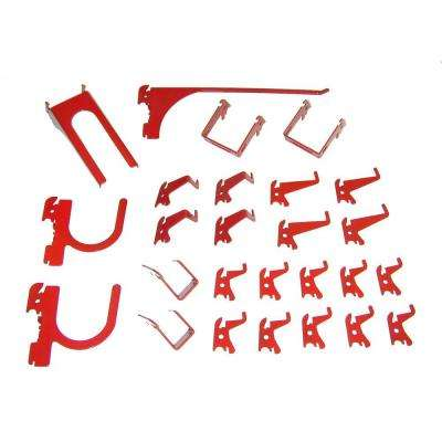 1 in. Tall Slot Use Only Slotted Metal Pegboard Deluxe Hook Assortment with Red Tool Board Hooks