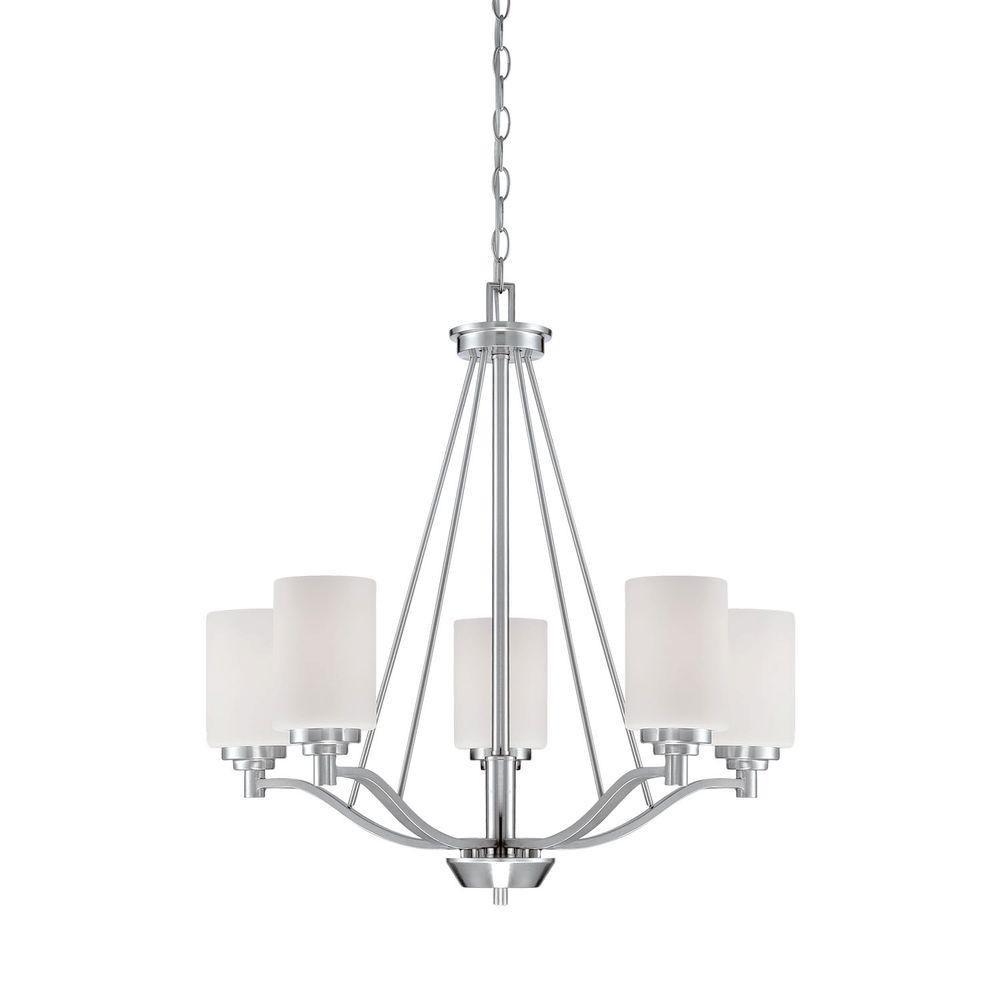 Millennium Lighting 5 Light Satin Nickel Chandelier With Etched How To Install A And Dimmer Switch Apps Directories White Glass