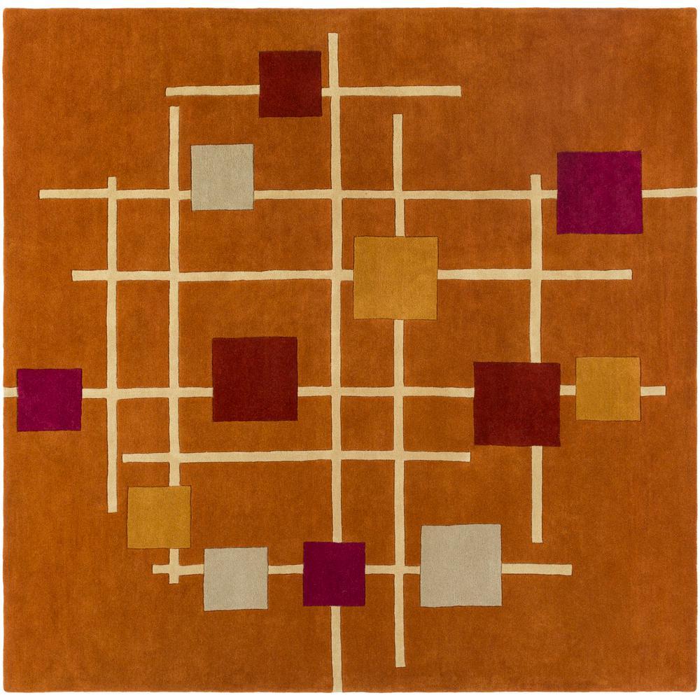 Tellis Burnt Orange 10 ft. x 10 ft. Square Area Rug