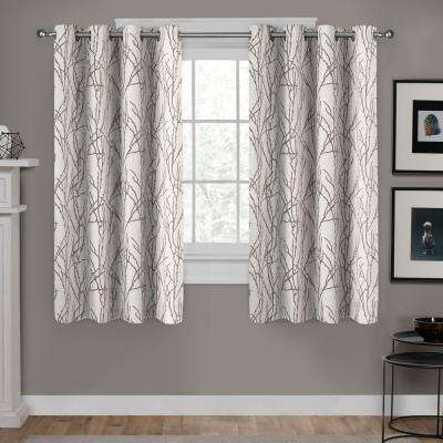 Branches 54 in. W x 63 in. L Linen Blend Grommet Top Curtain Panel in Natural (2 Panels)