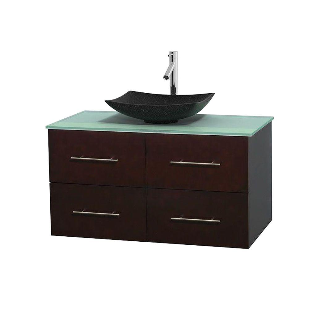 Wyndham Collection Centra 42 in. Vanity in Espresso with Glass Vanity Top in Green and Black Granite Sink
