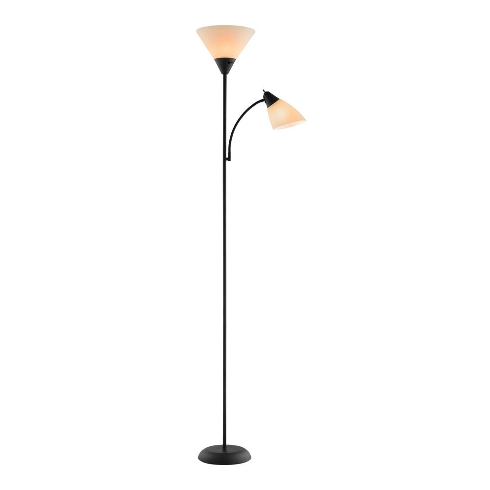 Catalina Lighting 71 in. Black Mother / Daughter Floor Lamp and 18.25 in. Clip Lamp with Plastic Shades