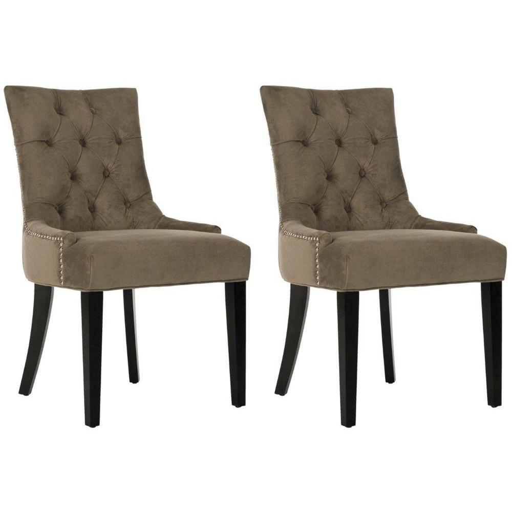Abby Mole Gray/Espresso Cotton Blend Side Chair (Set of 2)