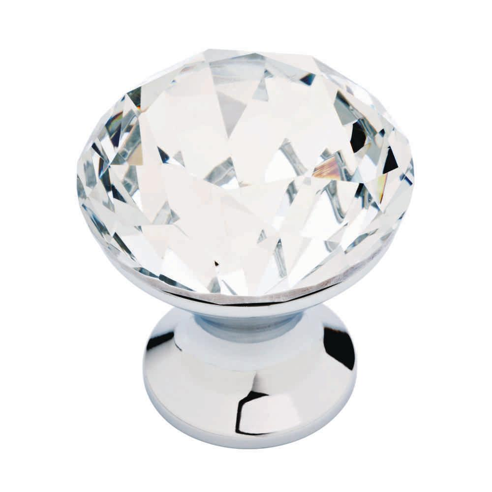 Liberty Solitaire 1-3/16 in  (30 mm) Polished Chrome and Clear Faceted  Acrylic Round Cabinet Knob