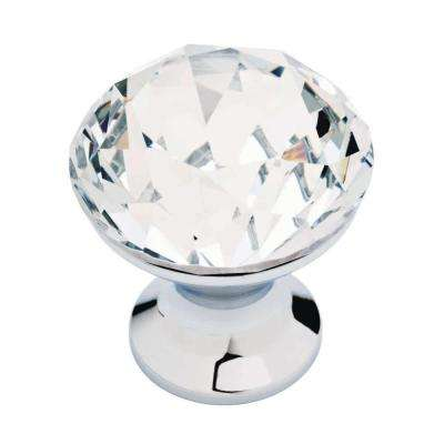 Solitaire 1-3/16 in. (30 mm) Polished Chrome and Clear Faceted Acrylic Round Cabinet Knob