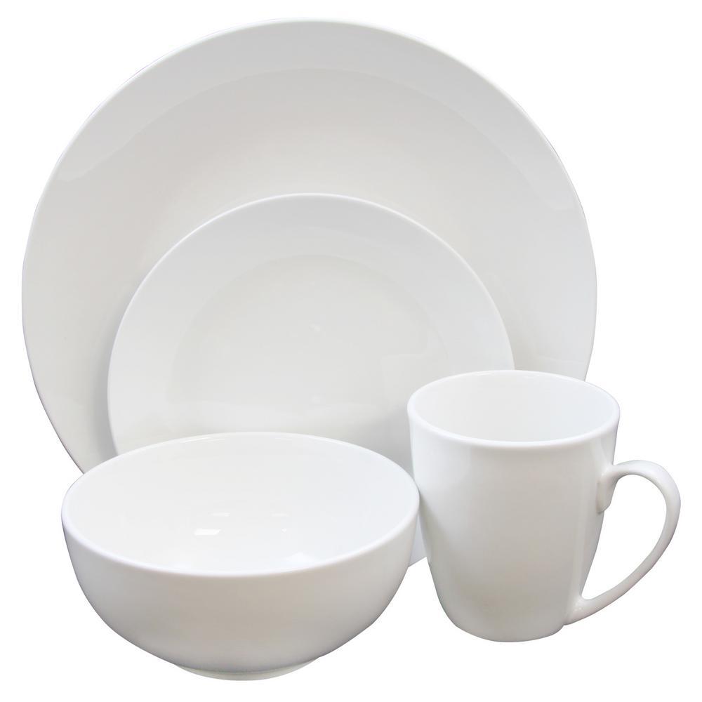 Paton 37-Piece White Dinnerware Set