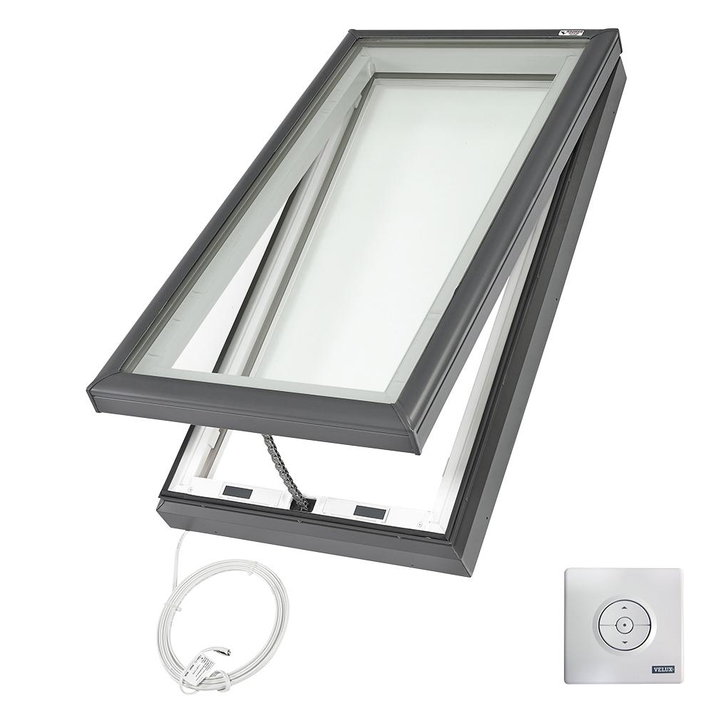 VELUX 30-1/2 in. x 46-1/2 in. Fresh Air Electric Venting Curb-Mount Skylight with Laminated Low-E3 Glass